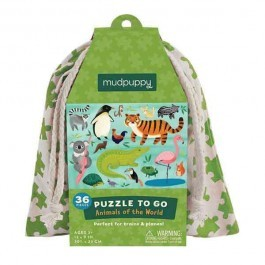 Puzzle to go - Animals of the world in a bag, 36pcs