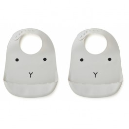 Set of silicone bibs - Rabbit dumbo grey