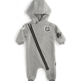 Teddy Zip Hooded Overall - Grey