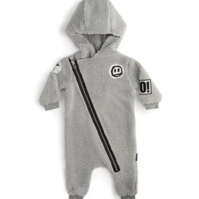 Teddy Zip Hooded Overall - Grey