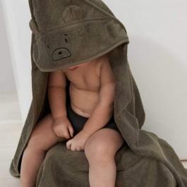 Hooded οργανική πετσέτα μπάνιου - Bear Khaki