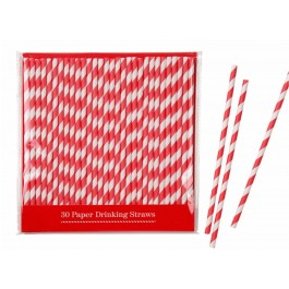 Red Stripes Paper Straws