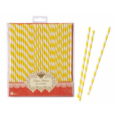 Yellow Stripes Paper Straws
