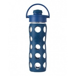 Glass Bottle with Flip Top Cap 470 ml - Midnight Blue