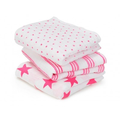 Musy Swaddle Fluro Pink- 3 Pack