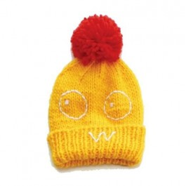 Knitted Pom Pom Hat - Yellow