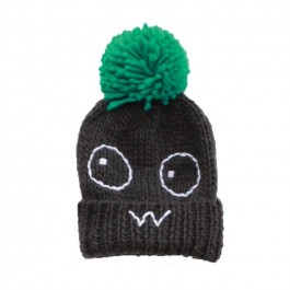 Knitted Pom Pom Hat - Grey