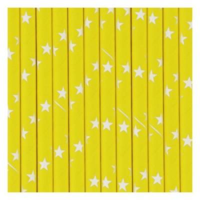 Yellow Paper Straws with white Stars