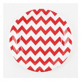 Paper Plates with Red Chevron