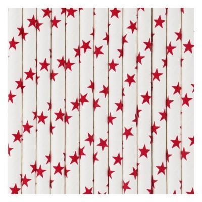 Paper Straws - Red Stars