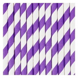 Paper Straws - Purple Stripes