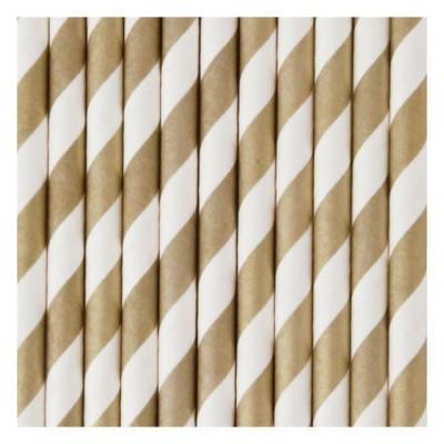 Paper Straws - Gold Stripes