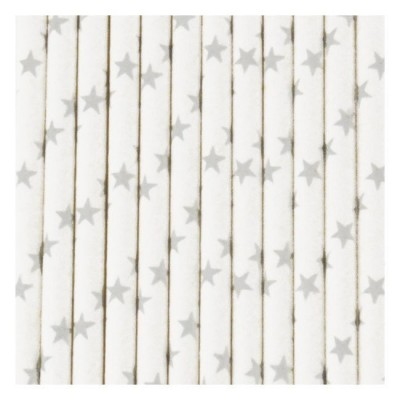 Paper Straws - Silver Stars