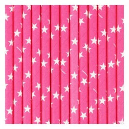Fuschia Paper Straws with white Stars