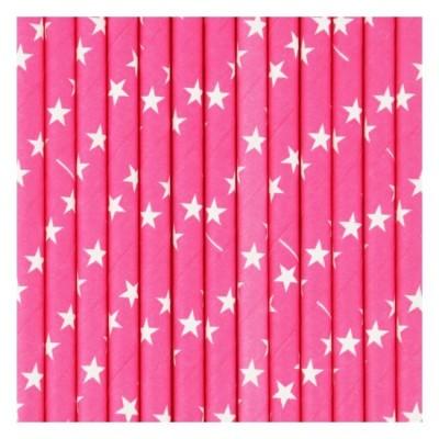 Fuschia Paper Straws with white Stars