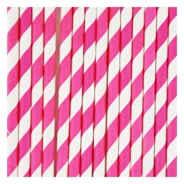 Paper Straws - Fuschia Stripes