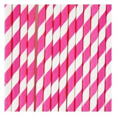 Paper Straws - Fuschia Stripes