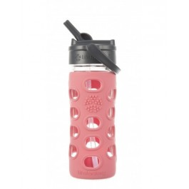Coral Glass Bottle with Straw Cap - 350ml