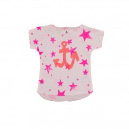 Tee Pink Stars with Orange Anchor