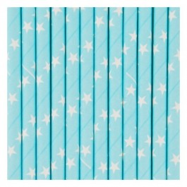 Turquoise Paper Straws with white Stars