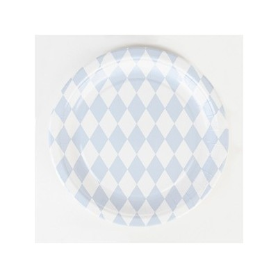 Paper Plates - Blue Diamonds