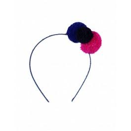 Pom Pom Headband Blue
