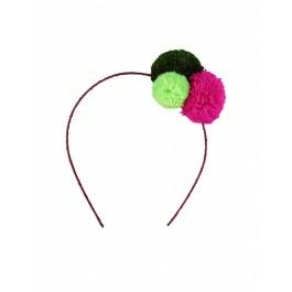 Pom Pom Headband Raspberry Pink