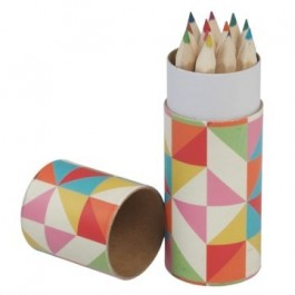Multicolour geometric design set of 12 coloring pencils