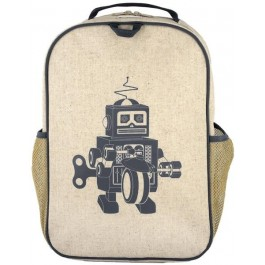 School Backpack- Grey Robot