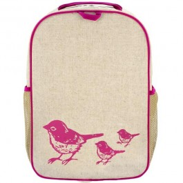 School Backpack- Pink Birds