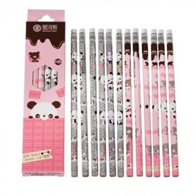 Πακέτο 12 μολυβιών- Panda Pink