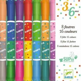 Σετ με 8 διπλούς μαρκαδόρους - 16 χρώματα