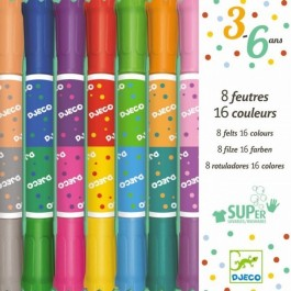 8 double felts - 16 colors Multicolored