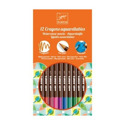 Set of 12 aquarel coloring pencils - Djeco