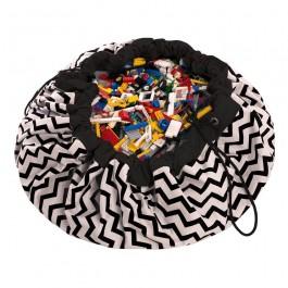 Τσάντα αποθήκευσης παιχνιδιών 2 σε 1- Zig Zag Black