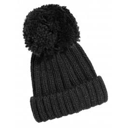 Woolen Hat Black - Pom Pom