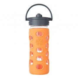 Orange Glass Bottle with Straw Cap - 320ml