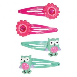 Hair Clip Owl and Flower
