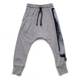 Brush Stroke Baggy Pants - Grey
