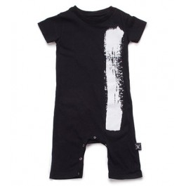 Brush Stroke Playsuit - Black