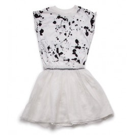 Splash Tulle Dress - White