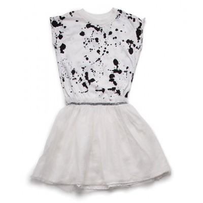 Splash Tulle Dress - White