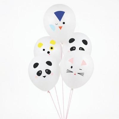 Set of 5 Printed Balloons - Mini Animals