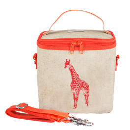 Small Cooler Bag- Neon Orange Giraffe