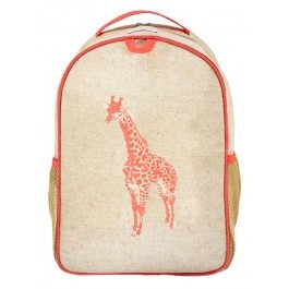 Toddler Backpack- Neon Orange Giraffe