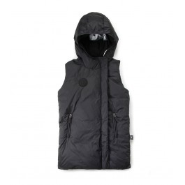 Long Down Vest - Black