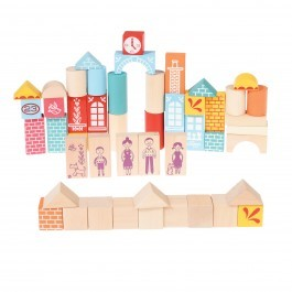 Set of 50 wooden construcion blocks