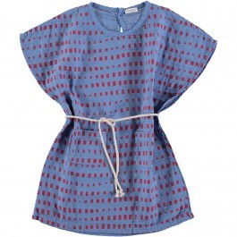 Kaftan Dress - Blue with red shapes