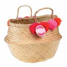 Belly Basket with pink Pom Poms
