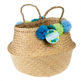 Belly Basket with green Pom Poms